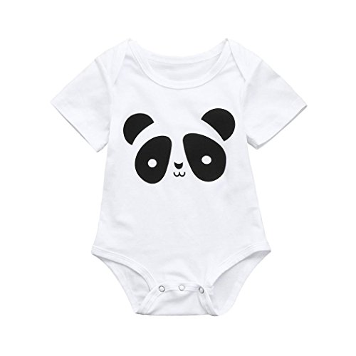 Lurryly 2019 Baby Boys Girls Kids Cute Cartoon Panda Print Romper Jumpsuit Outfits 0-2T (Size:18M,Label Size:90, White)