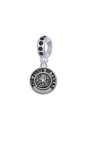 Texas Seal Jewelry Pendant (Silvertone Texas State Seal - Black Crystal Charm Bead)