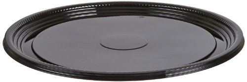 CaterLine Casuals Plastic Platter Round Tray, 16-Inch, Black (25-Count)