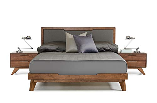 - Limari Home LIM-72075 Maurice Collection Mid-Century Modern Style Veneer Finished Bed with Linen Fabric Headboard, Eastern King, Grey & Walnut