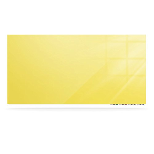 Ghent Manufacturing ARIASN64YW Aria 6 x 4 ft. Low Profile 0.25 in. Vertical Yellow Glassboard with 4 Markers & Eraser from Ghent