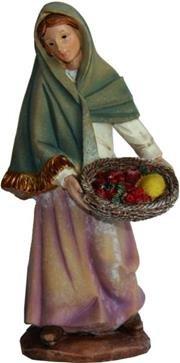 Miniatur Modell Figur Magd mit Obstkorb, geeignet für 7cm Figuren Zisaline