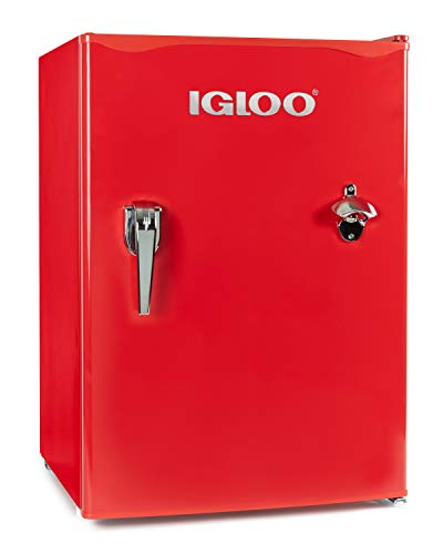 Igloo IRF26RSRD Classic Compact Single Door Refrigerator Freezer w/Chrome Handle & Bottle Opener, 2.6 Cu.Ft, Red