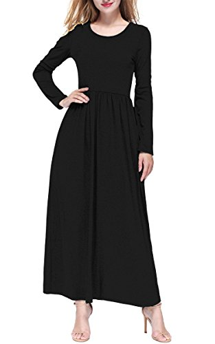 DKBAYA Women Casual Long Sleeves Soft Jersey Maxi Long Dress with Pocket Black L (Knit Dress Neck Sweater Scoop)