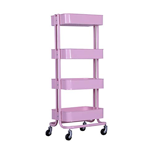 WONLINE Pink 4 Tiers Mental Utility Cart Mobile Storage Shelves Rolling Organizer Trolley Cart for Home Kitchen ()