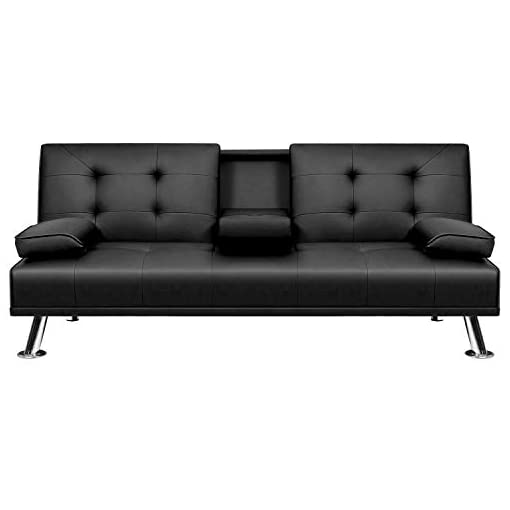 Living Room VICTONE Futon Sofa Bed Modern Faux Leather Couch Bed Convertible Folding Recliner for Living Room with 2 Cup Holders and… modern sofas and couches