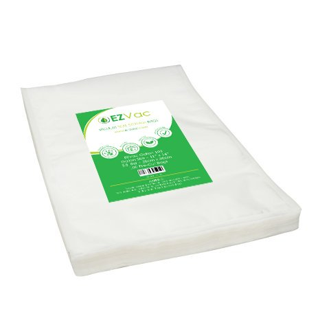 200 Gallon Sized (11″ x 14″) Pre-Cut Vacuum Seal Food Storage Bags. For use in all home vacuum sealing systems including FoodSaver. By EZVac. Great for Sous Vide.