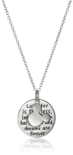 Disney Sterling Silver Laughter is Timeless. Dreams are Forever Mickey Mouse Pendant (Disney Charm Necklaces)