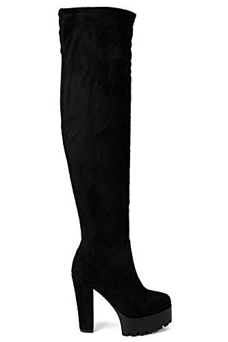 Damen Schwarz Anna Platform Cleated Thigh High Boots Schwarz