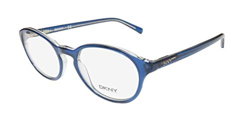 DKNY 4638 For Ladies/Women Designer Full-Rim Shape Flexible Hinges Contemporary Casual Must Have Sleek Eyeglasses/Eye Glasses (51-20-140, Transparent Blue)