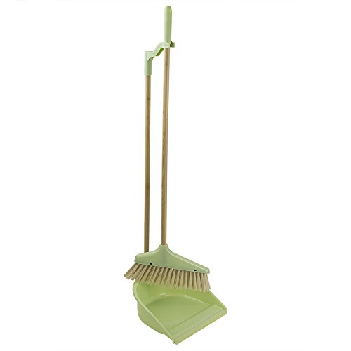 - Home Basics Bliss Collection Bamboo Cleaning Supplies, Green (Broom with Dustpan)