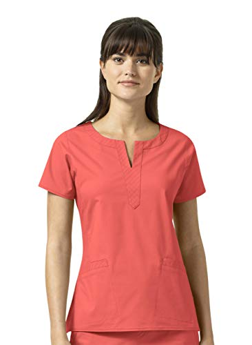 (Vera Bradley Signature Collection Women's Linda Notch Neck Quilted Scrub Top- Vivid Coral- Medium)