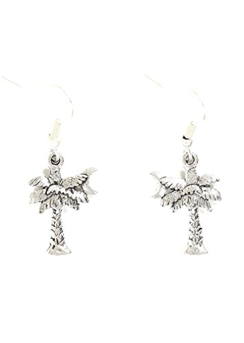 (Palm Tree Dangle Earrings Silver Tone Crescent Moon Charm EG27 Fashion Jewelry)