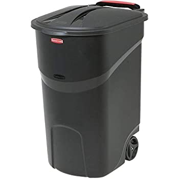 Taltintoo20 Black Wheeled Trash Can with Lid Opens to Either 80 Degrees Size 45 Gal. Wheels Steady and Upright for Outdoor