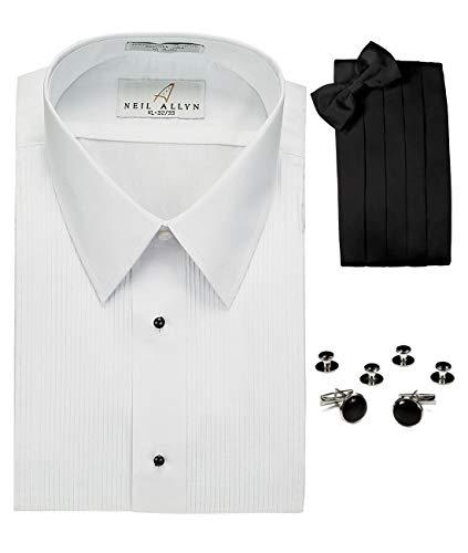 Lay-Down Collar Tuxedo Shirt, Cummerbund, Bow-Tie, Cuff Links and Studs Set White
