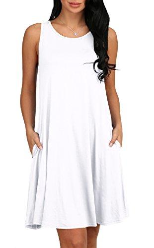 Alaroo Womens Summer Sleeveless Pocket Loose T-Shirt Dress S-XL