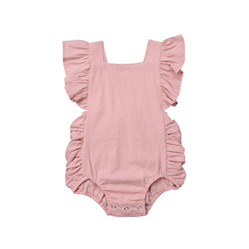 NUWFOR Summer Newborn Baby Boys Girls Ruffle Solid Romper Bodysuit Jumpsuit Clothes?Pink,18-24Months?