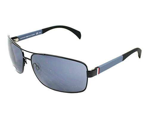Tommy Hilfiger TH 1258/S NIOKU (Black - Blue with Blue - Tommy Hilfiger Sunglasses Mens Aviator