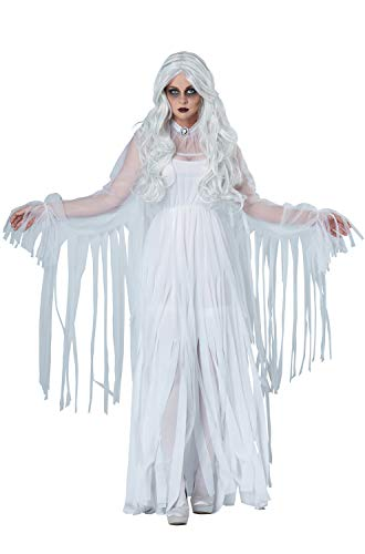 Ladies Zombie Bride Halloween Costume (California Costumes Women's Ghostly Spirit, White,)