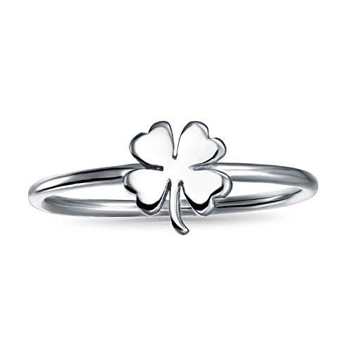 Bling Jewelry Plata de Ley 925Suerte Trébol de cuatro hojas anillo de Midi