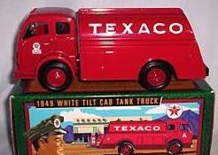 - Etrl Texaco 1949 White Tilt Cab Tank Truck Bank; Collectors' Series #13