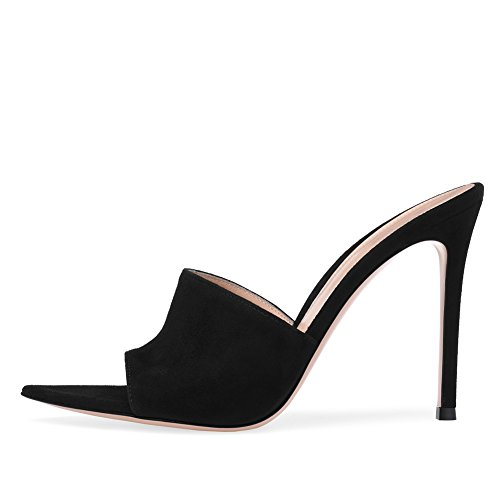 Amy Q Open Pointed Toe High Heel Mules Sexy Sandals for Women Dress Heels Ladies Stiletto Heel Summer Shoes, Black, Size ()