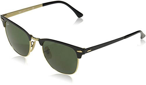 (Ray-Ban RB3716 Clubmaster Metal Square Sunglasses, Shiny Black On Gold/Green, 51 mm)