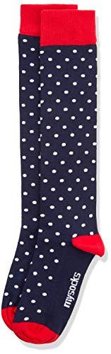Polka Dots White Cotton Socks - Mysocks Unisex Knee High Long Socks Polka Dot Design Navy White Dot