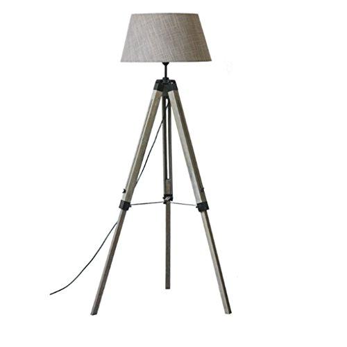 - Briskaari Store- American Floor Lamp Retro Wood Nordic Minimalist Modern LED Study Living Room Vertical Tripod Floor Lamp