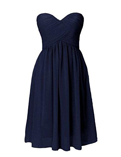 Navy for Chiffon Party BessWedding Short Dress Girls Dresses Reception Sweetheart Pxvqwz