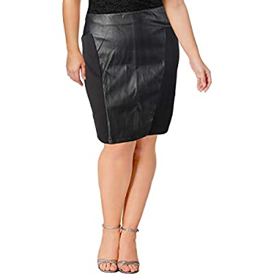 Junarose Womens Plus Faux Leather Knee-Length Pencil Skirt