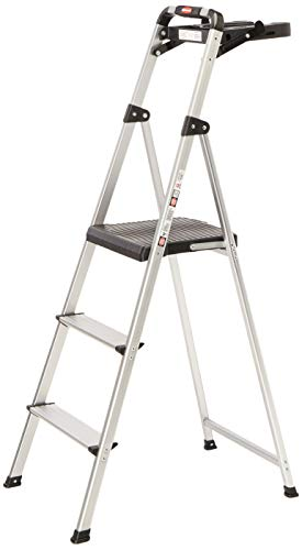 Rubbermaid RM-SLA3-T 3-Step Ultra Light Aluminum Step Stool with Project Tray, 225-Pound Capacity, Grey Finish (Gorilla 3 Step Folding Ladder With Tray)
