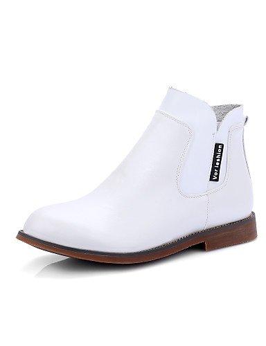 XZZ/ Damen-Stiefel-Kleid / Lässig-Kunstleder-Niedriger Absatz-Modische Stiefel-Schwarz / Braun / Weiß white-us6 / eu36 / uk4 / cn36