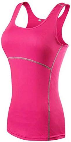 女性のスポーツタイツフィットネスランニングTシャツヨガトレーニングトップ速乾性汗成形ストレッチタンク