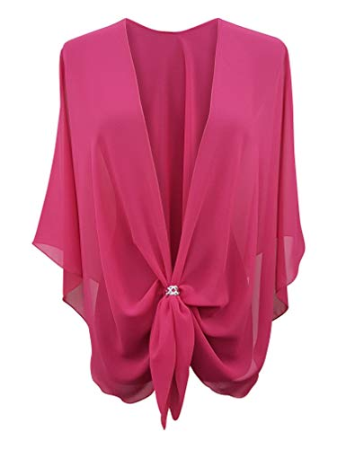 (eXcaped Women's Evening Shawl Wrap Sheer Chiffon Open Front Cape and Silver Scarf Ring (Hot Pink))