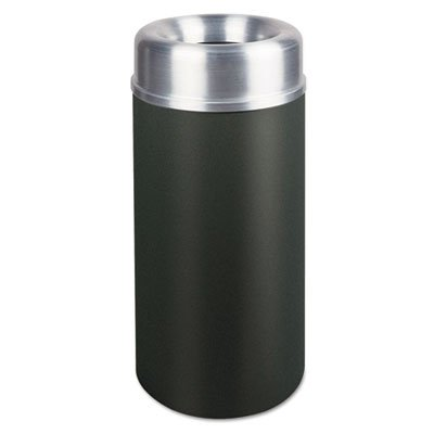 Rubbermaid Commercial Products Rcp Aot15Sabk 15 Gal Open Top Receptac Le Black/Aluminum RCP AOT15SABK ()