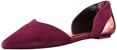 Ted Baker , Ballerines pour femme Red Dark Red Suede/Rose Gold Leather