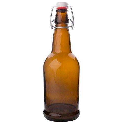 EZ Cap Bottles w/ Swing Tops - 1L Amber (Beer Pedestal Glasses)