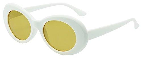 Colorful Oval Kurt Cobain Inspired Mod Round Pop Fashion Sunglasses (White, - Kurt Cobain Yellow Glasses