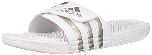 adidas Adissage Sandal, Platinum Metallic/White, 13 Medium US