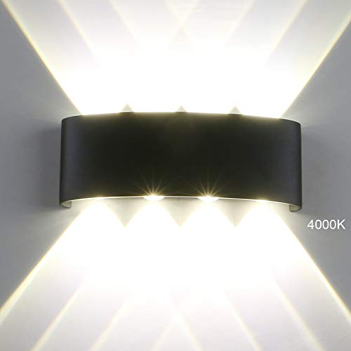 Pathson Modern Outdoor Wall Light, 8 LEDs Hallway Porch Wall Sconce, Up Down Wall Lamp Indoor Matte Black Wall Mount Light Fixture 4000K White Light for 3.9
