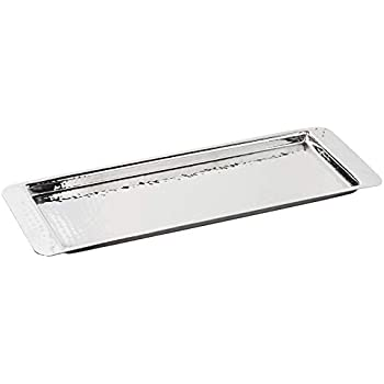 Elegance Stainless Steel Hammered Rectangular Tray, Small, 13.75 by 4.5-Inch, Silver