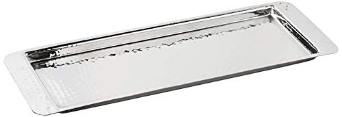 Elegance Stainless Steel Hammered Rectangular Tray, Small, 13.75 by 4.5-Inch, Silver (Trays Rectangular)