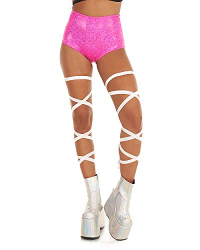 (iHeartRaves Pair of Non-Slip Rave Leg Wraps (White))