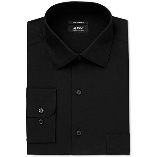 Alfani Mens Cotton Stretch Regular Fit Dress Shirt Black - Shirt Alfani Dress Mens