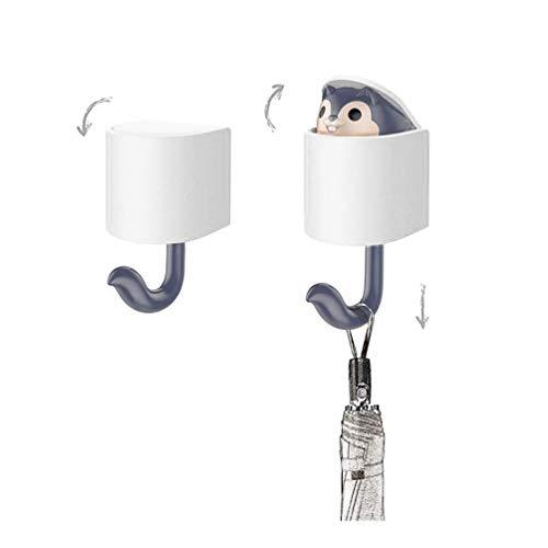 callm Cartoon Kids Wall Hooks Adhesive, Cute Squirrel Hooks Great for Kid's Room Living Room Bedroom Hanger Key Umbrella Towel Cap Coat - Hook Squirrel
