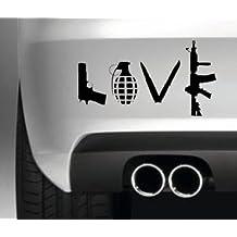 Banksy Love Weapons Car Decal Vinyl Sticker JDM Euro Drift Lowered Stance Laptop Ipad Window, Wall, Car, Truck, Motorcycle
