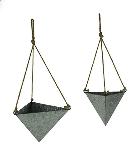 (Galvanized Topsy-Turvy Metal Triangle Hanging Planters Set of 2)