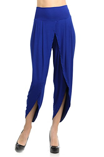 Ladybug Women's Layered Wide Leg Flowy Cropped Palazzo Pants, 3/4 Length High Waist Palazzo Wide Legs Capri Pants (3X, 1069-Blue)