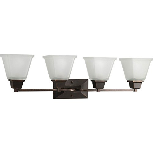 Mission Bronze Bracket - Progress Lighting P2745-74 4-Light Bath Fixture with Square Etched Glass and Can Mount Up Or Down, Venetian Bronze